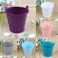 Wholesale 12pcs Mini Tin Bucket Wedding Candy Bag Candy Box Wedding Favor Box Decorative Metal Buckets for Flowers Gift Party Supplies