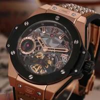 arrival battery cases - Special New Arrival Hublo Quartz Watch Men Ceamic Case Black Big Dial Leather Band Big Bang Watch Montre Homme