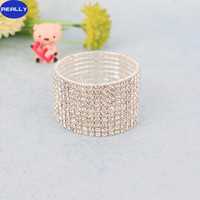 Wholesale REALLY Rhinestone Crystal stretched Wedding Bracelets bangle For Party Bridal Jewelry to Rows
