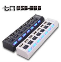 Wholesale 7 Ports LED USB High Speed Adapter USB Hub With Power on off Switch For PC Laptop Computer DHL