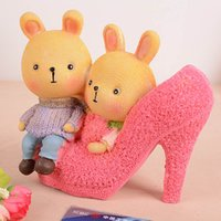 bank heels - New Arrival heels couple bear resin piggy bank Lovely handicraft Money Boxes Saving Box mm
