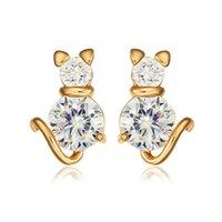 baby piercing earrings - 18k Yellow Gold Plated Lovely Cat Kitty Clear Zircon Anti Allergic Piercing Stud Earrings for Children Girls Kids Baby Jewelry