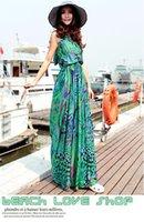 Wholesale new Europe usa women summer bohemian Beach vacation Hanging neck printing dress dress Ice silk Beach dress