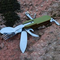 Wholesale Multifunction Portable Knifes Stainless Steel Outdoor Camping Folding Cutlery Travel Picnic Fork Spoon Knife Tableware MA0181