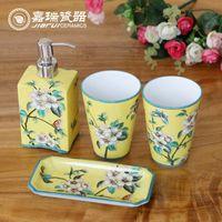 bathroom accessories kit - Jiangxi hand painted Floral birds pattern ceramic bathroom set sanitary ware Hotel amenities kit bathroom accessories