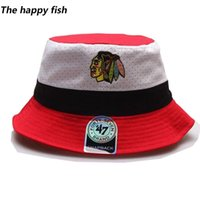 Wholesale bucket hat men hiphop polo bucket hat Men s Women s color block Chicago Blackhawks leisure hockey sport team bucket hats