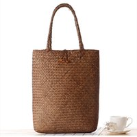 Brown straw beach bag - Summer Women Bag Natural Straw Weave Sandy Beach Brown Color Lady Messenger Bag Shopping Bag Shoulder Bag