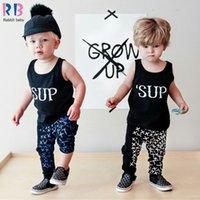 alphabet t shirt - New Arrival Boys Suits vest harem pants alphabet letters SUP cross casual sleeveless T shirt SET children s