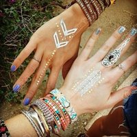 Wholesale Summer Flash Tattoos Temporary Metallic Tattoo Jewelry Fancy Flash Body Gold Tattoo Silver Bling Feather Flash Necklace Waterproof Sticker