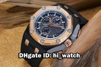 authentic luxury watches - Super Clone Luxury Cheap New FR OO A002CA Rose Gold Authentic Quartz Chronograph Stopwatch Black Dial Mens Watch Rubber Strap AP
