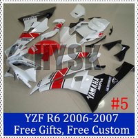 Wholesale Motorbike fairings for Yamaha YZF R6 White Red Complete fairings YZF R6 Motorcycle Sportbike Bodycover