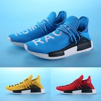 Wholesale New NMD Human Race Pharrell Williams Light Blue Sneakers Men Women Yellow Running Shoes kelly green Sports Shoes
