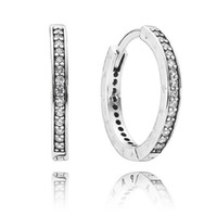 Wholesale 2016 NEW Authentic sterling silver hoop earrings with clear CZ fitS for pandora charms jewelry DIY fashion jewelry pair