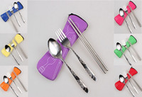 Wholesale High Quality Outdoor Portable Lunch Stainless Steel Chopsticks Spoon Fork Tableware Travel Cutlery Sets Bag pillow package