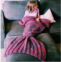 Wholesale 50pcs knitted Mermaid Tail Blanket for Kid Baby Mermaid Blanket Throw Bed Children Swaddle Sleeping Bag Colors cm DHL MRA001