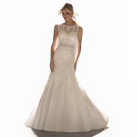 accented o - New Arrival Sexy O Neck Natural Waist Mermaid Accented Appliques Floor Length Tulle Long Bridal Wedding Dresses Gowns