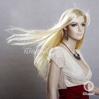 Wholesale A3401 Long Straight Women Blonde Wigs Medium Part Lady Periwig European American Kanekalon Adjustable Size