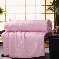 Wholesale 100 silk comforter blanket quilt duvet for summer winter king queen twin size handmade bedding white pink color W36