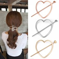 Wholesale New Fashion Korean Hair Jewelry Love Heart Bow Hair Forks Women Ponytail Clip Hair Accessories Hairpins Metal Hair Clasp Colors