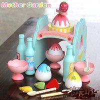 Wholesale Baby Toys New Arrived Mother Garden Strawberry Simulation Ice Cream Making Machine Wooden Toys Child Educational Birthday Gift