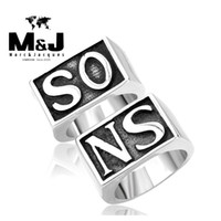 band son - Sons of Anarchy SO NS sale titanium stainless steel ring vintage punk men jewelry Glue Laser STR5