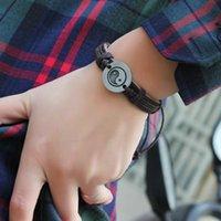 Wholesale Tibetan Silver Alloy Tai Chi Ying Yang Pendant Hemp Genuine Leather Bracelet Men Women Wristband Bracelet YXP50910657