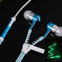 Wholesale 6 Color Glow Headphone Luminous Light Metal Zipper Earphone Glow In The Dark Headphones Headset for Iphone Samsung Auriculares