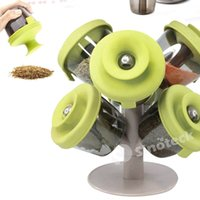 Wholesale 2016 Hot sale Creative Tree Form Pop Up Spice Rack Container Dispenser six Pieces Set Storage Tank Branches Spice Jar Spice Pepper Shakers