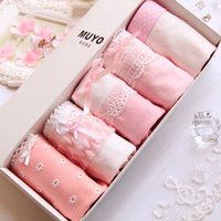Wholesale Christmas Lady Hot - 2016 Hot Sale new style lady lace panties hot cartoon bow Free shipping Gift box Christmas