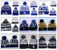 angeles girls - Hot Sale Los Angeles Dodgers Beanies Winter Warm Cuffed Pom Beanie Hat High Quality Skullies Embroidered LA Team logo Knit Wool Hat