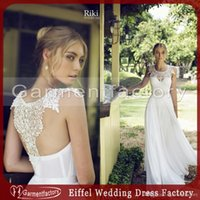 beach decorating - 2016 riki dalal wedding dress country style decorated sheer lace neck a line beading waist white chiffon beach wedding dresses bridal gowns