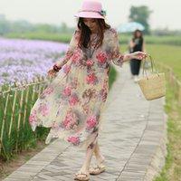 Wholesale new arrival women silk casula dress mulberry silk female high slit dress elegant summer Butterflies over Flowers