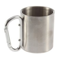 aluminium mug - double wall travel mug cup caneca mugs cups and mugs Aluminium carabiner stainless steel hook isolating handle travel cup