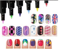 Wholesale 16 Colors D DIY Nail Art Pen Painting Design Tool Drawing For UV Gel Manicure dooting tools