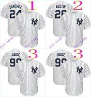 al por mayor jerseys yankee barato-New York Yankees # 24 Gary Sánchez # 26 # 99 Tyler Austin Aaron juez de 2016 MLB Baseball Jersey barato Rugby camisetas auténtico