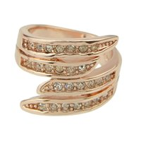 Wholesale New Coming Rose Gold Plated Women Rhinestone Big Wedding Rings