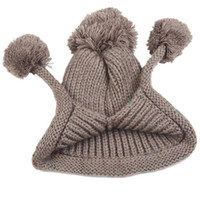 Wholesale Fashion Brand Winter Hat Wool Balls Lady Cute Warm Beanie Cap Hot Sale Chapeu Femininas Colors QJ