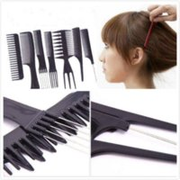 Wholesale 10Pcs Black Pro Salon Hair Styling Hairdressing Plastic Barbers Brush Combs Set comb trimmer