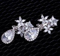 ancient copper - wedding earring Restoring ancient ways of fashion snow water drop CZ Dangle Chandelier Earrings
