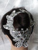 Precio de Cosiendo flores 3d-Los accesorios del pelo de la muchacha de flor 3D Sequined el oro de Headwear que rebordea el accesorio del pelo de los cequis del metal del collar que cose la flor 24.5 * 9.5cm de Paillette