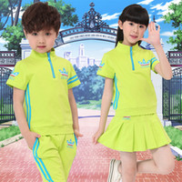Wholesale Children Boys School Uniforms Printing T shirts Skirt pants Girls Summer Camp Leisure Suit Gym Outfit Tracksuit Sport Suit cm cm