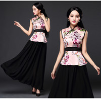Wholesale Chinese Traditional Dress Improved Women s Cheongsam Or Qipao for Summer Color Top Skirt per set