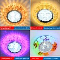 Revisiones Focos de colores-Venta al por mayor-2016 Lamparas De Techo color de alta calidad de cristal foco de LED Downlight Techo Focos de Navidad para el envío libre Comerciales