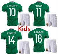 Wholesale Soccer Jersey Mexico Kids Mexico Children Uniform home green Mexico Kids G Dos Santos Baby Boys CHICHARITO Youth Kit