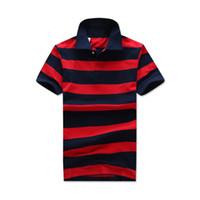 Wholesale Designer Polo T Shirts Mens Fashion Small Horse Brand Red Black Striped Short Sleeve Polos Fashion Embroidery Usa American Flag T shirt