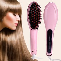 Wholesale 2016 newest popular hair straighteners With LCD Display Electronic Temprature Adjustable straightening brush ceramic heating