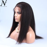 Wholesale 2016 Brazilian italian yaki full lace wig human hair lace wigs for black women lace front wigs Natural color