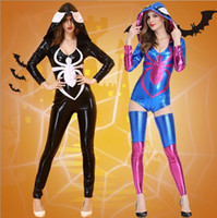 Wholesale Sexy Movies Free - New Luxury Sexy Cartoon Costumes Cosplay Halloween Tight Hooded Jumpsuit Imitation Leather Zipper Spider Pattern Club Party Clothing