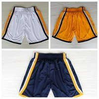 Wholesale Indiana Basketball Shorts Indiana Paul George White Yellow Dark Blue Basketball Shorts Size S XXL