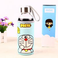 Wholesale Glass Cups Transparent Cartoon Boutique Glass Bottle Cloth Cover Portable Glass Bottle Cup Travel Cup Mug Jug Kettle Water Bottles